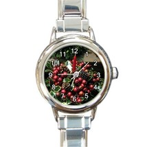 Ladies Round Italian Charm Watch Holly Berries Candle Pinecone Gi model ... - $11.99