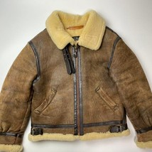 Made in USA[AVIREX Real Mouton Sheep Leather Jacket B-3] SizeL, Notation... - $445.49