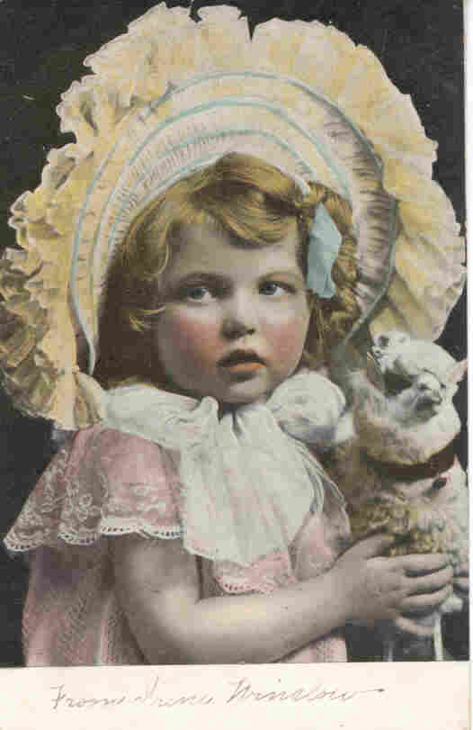 A Pretty Little Girl and Her Lamb Post Card