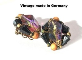 Vintage Cluster Earrings Amber Black Faceted Old Plastic Jewelry Made in... - $24.75