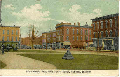Main Street LaPorte Indiana vintage Post Card