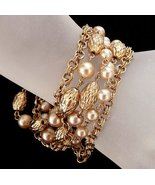 Vintage Coro Chain Bracelet Faux Pearls Multi S... - $42.95