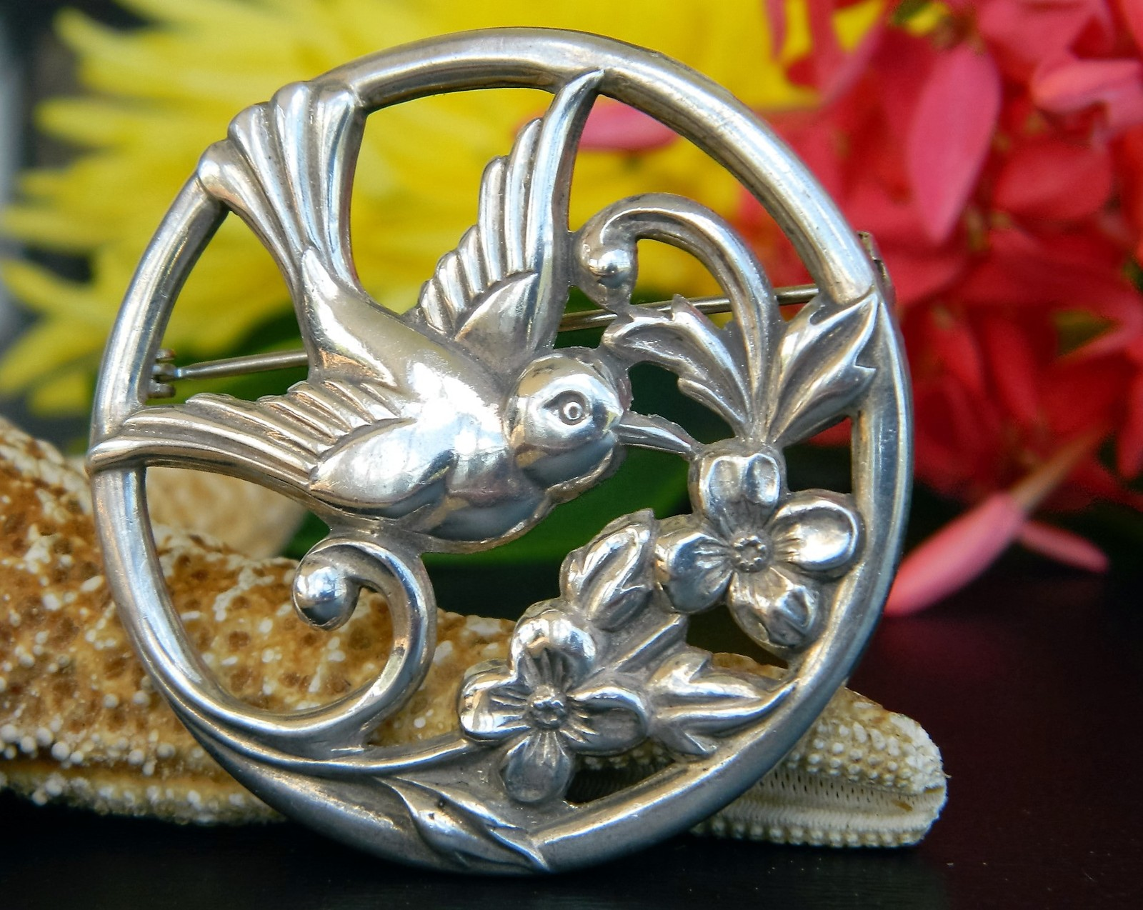 Primary image for Vintage Coro Bird Flower Circle Brooch Pin Silver Round Patent Pending