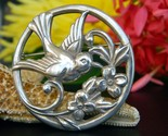 Vintage coro bird flower circle brooch pin silver round patent pending thumb155 crop