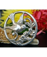 Vintage Coro Bird Flower Circle Brooch Pin Silver Round Patent Pending - $49.95