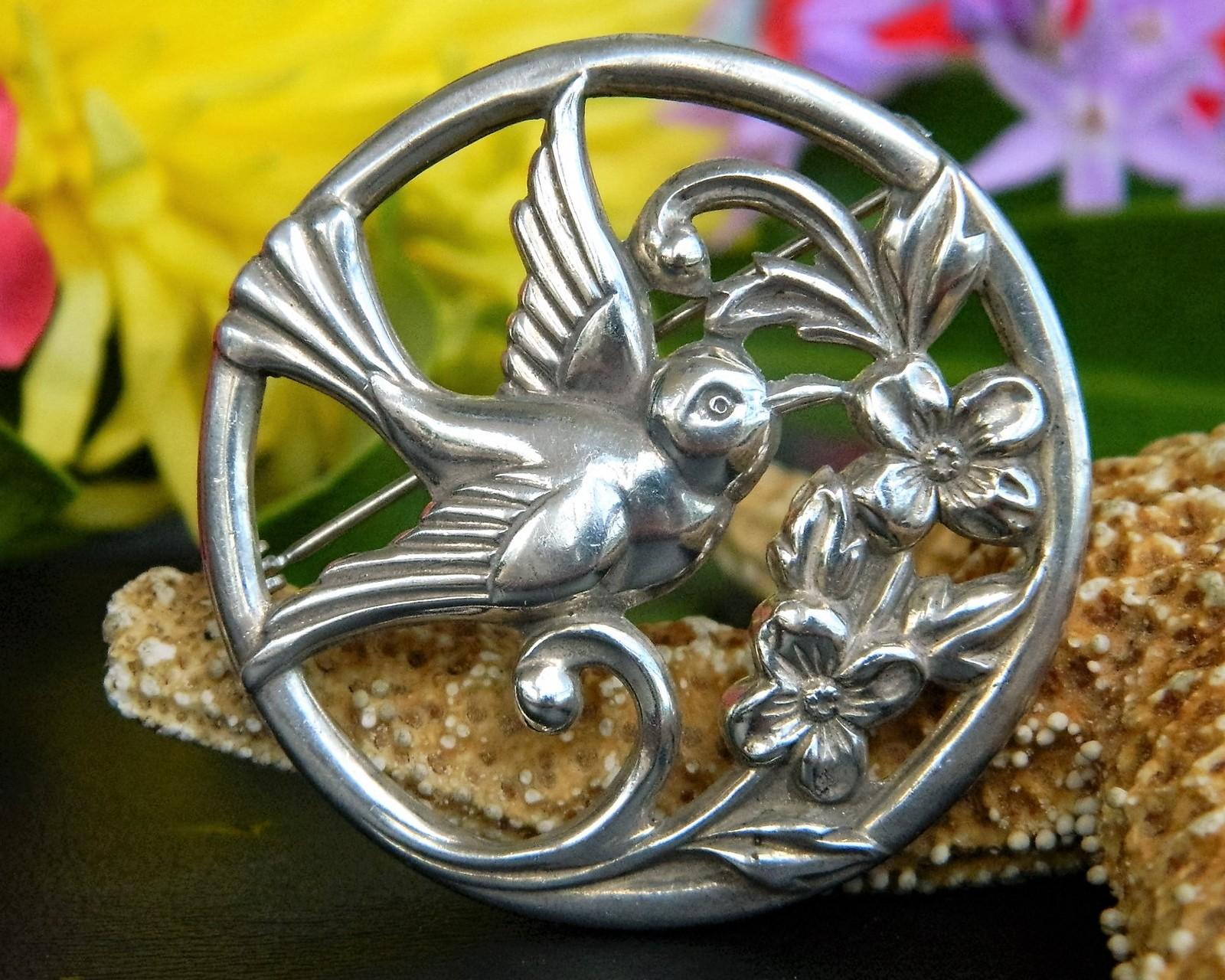 Vintage Coro Bird Flower Circle Brooch Pin Silver Round Patent Pending