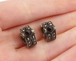 JUDITH JACK 925 Silver  - Vintage Black Onyx & Marcasite Huggie Earrings... - $34.22