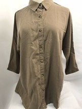 Coldwater Creek Marrón Tencel Doman Camisa, Mujer Talla Pequeña, Nwt - $39.98