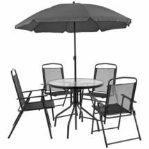 Flash Furniture Nantucket 6 Piece Patio Garden Set With Table, Umbrella ... - $250.48