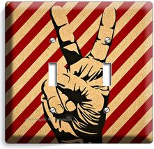 PEACE SIGN VICTORY HAND FINGERS DOUBLE LIGHT SWITCH WALL PLATE COVER ROO... - $10.79