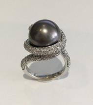 14K White Gold Pearl Ring w/ Diamonds – Size 7.5 - $2,995.00