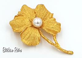Hobe Vintage Flower Brooch with Faux Pearl and Very Collectible  - $36.00