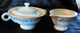 VTG Theodore Haviland Clinton Creamer & Sugar Bowl, Blue flowers on Cream Rim - $37.99
