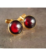 Red Cuff links Vintage Swank button top cufflinks gold tuxedo accessory ... - $75.00