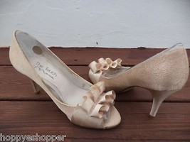 Touch of Nina Fencel Gold Peep Toe Pumps Heels Womens 6.5M Excellent Minimal Use - $32.16