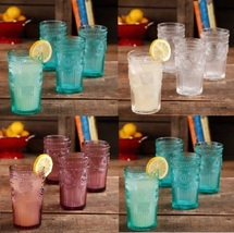 Glass Tumblers Set Glassware Emboss Drinking Glasses Iced Tea Cup Cups 4... - $29.85+