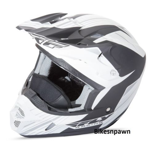 New S Adult Fly Racing Kinetic Pro Cold Weather Snow Helmet White/Black