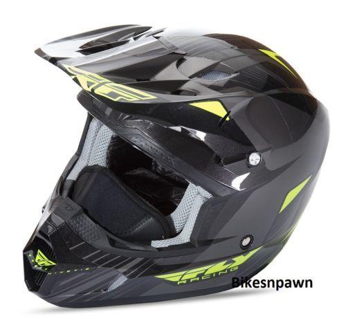 New S Adult Fly Racing Kinetic Pro Cold Weather Snow Helmet Black/Hi-Viz