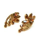 Topaz Earrings Crystal Clip On Earrings True Vintage Jewelry Ab Golden B... - $49.50