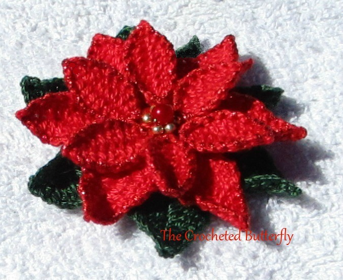 CROCHET PATTERN - Poinsettia, applique, pin, ornament, flower, Christmas, red