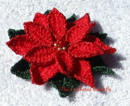 CROCHET PATTERN - Poinsettia, applique, pin, ornament, flower, Christmas... - $3.99