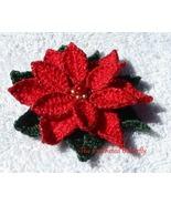 CROCHET PATTERN - Poinsettia, applique, pin, ornament, flower, Christmas... - $3.99