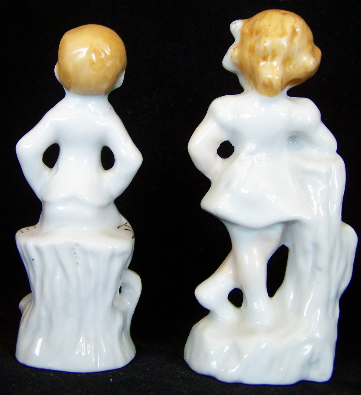 """(1) Sets MADE IN  JAPAN  BISQUE FIGURINES 4"""" & 4""""  GIRL w/LACE & CUP-SAUCER"""