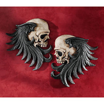 Gothic Couture Macabre Duo Stylized Winged Skulls Dark Side Mirrored Scu... - ₨4,174.20 INR