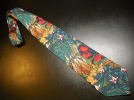Structure Neck Tie Farm Bounty with Other Plant Life Olive Green Italian Fabric - $10.99
