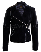 Leather Skin Women Black Brando Suede Sleeve Shoulder Padded Leather Jacket - $179.99