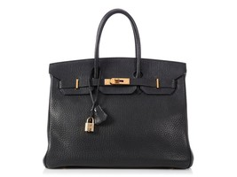 HERMES 35cm Birkin Black Fjord Leather Palladium Hardware Tote Bag  - $9,899.01