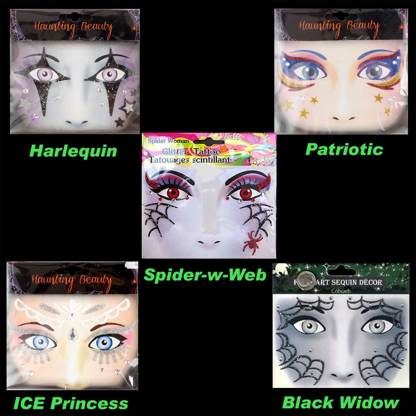 Face Art Glitter TEMPORARY TATTOOS Costume Instant Makeup Eye Decal-CHOOSE STYLE