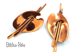 Renoir Vintage Copper Artist's Palette Earrings, Mid Century Modern Style - $19.00