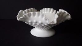 Fenton Hobnail Ruffle Bowl Pedestal Milk Glass ... - $18.68