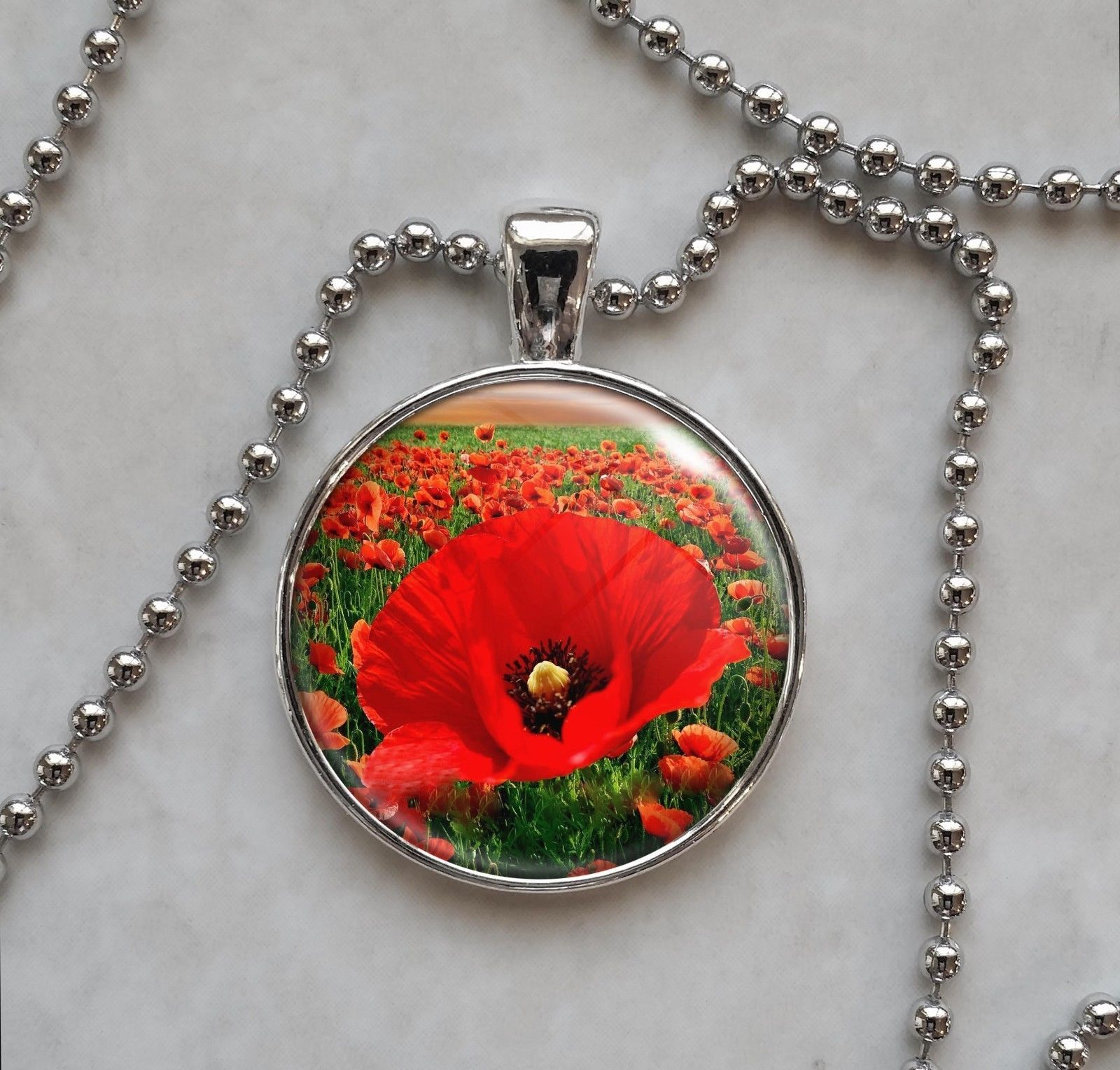 Primary image for Field Of Poppy Red Flowers Pendant Necklace