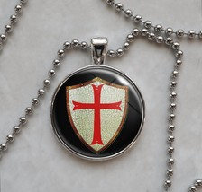 Knights Templar Shield with Red Cross Necklace - £10.64 GBP+