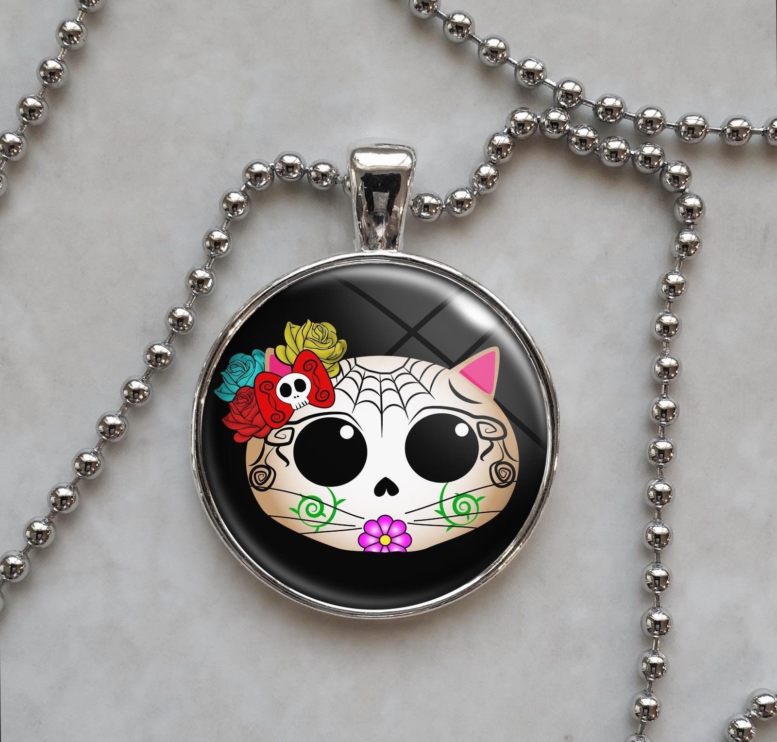 Primary image for Kitty Cat Sugar Skull Dia De Los Muertos  Necklace