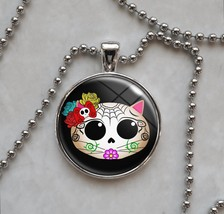Kitty Cat Sugar Skull Dia De Los Muertos  Necklace - $14.85+