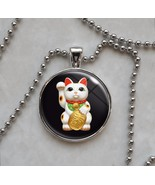 Maneki Neko Cat Kitty Beckoning Cat Luck Charm Japanese Culture Pendant Necklace - $14.85 - $18.81
