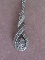 """S"" STERLING & DIAMOND SWIRL PENDANT W/ ILLUSIO... - $28.00"