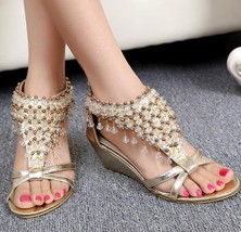 Golden Women Crystals Bridal Wedges Sandals,Golden Ladies Wedding Wedges... - $39.99