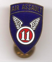 """Vintage US Army 11th Airborne Assault Division """"Angels"""" Gold Metal DI Crest Pin - $3.50"""