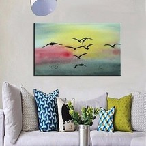 Hand-painted Landscape Sea Gull Seascape Hand-made Art Oil Painting On C... - $73.26