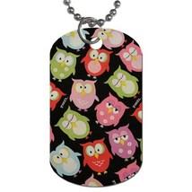 Custom Personalized Dog Name Id Tag - Cute Sleepy Owls Birds Pet Dog Nam... - $9.99