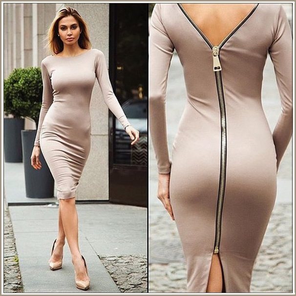 Stately Long Sleeved Solid Color Round Neck Zip Up Back Midi Length Pencil Dress