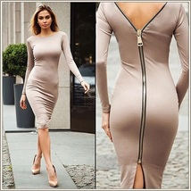 Stately Long Sleeved Solid Color Round Neck Zip Up Back Midi Length Penc... - $63.95