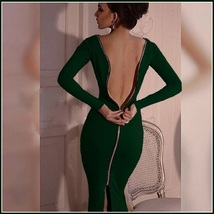 Stately Long Sleeved Solid Color Round Neck Zip Up Back Midi Length Pencil Dress image 2