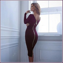 Stately Long Sleeved Solid Color Round Neck Zip Up Back Midi Length Pencil Dress image 4