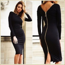 Stately Long Sleeved Solid Color Round Neck Zip Up Back Midi Length Pencil Dress image 5