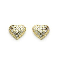 14K GOLD PLATED EARRINGS HEART Screw Back ON SALE ! - $14.69